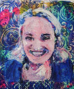gelli plate print geschilderd portret Gertrude
