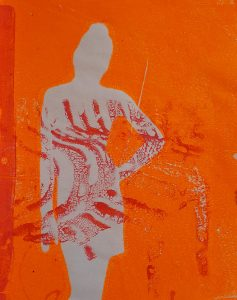 gelli plate print silhouet